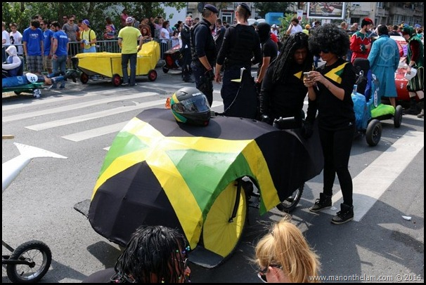 Red Bull Soapbox Race Bucharest Romania -- Jamaican bobsled team design