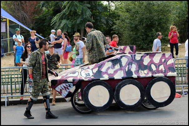 Red Bull Soapbox Race Bucharest Romania -- army tank