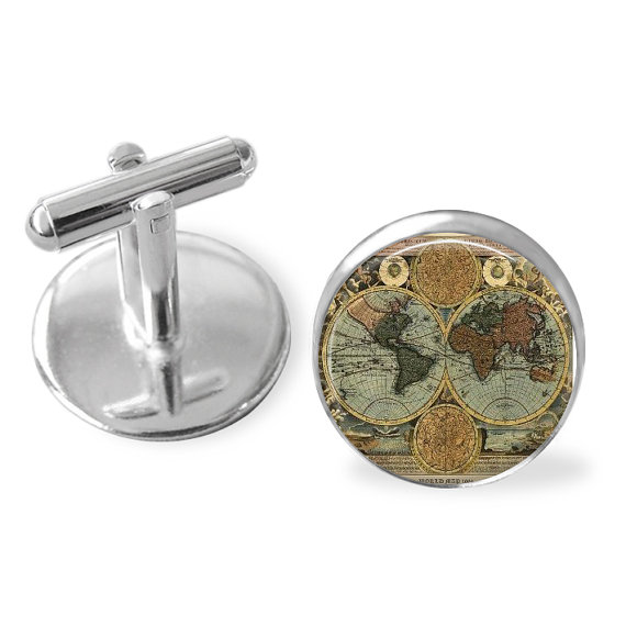 Antique Globe Cuff Links Christmas stocking stuffers for men who travel