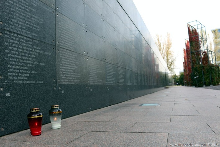 Warsaw Rising Museum, Poland -- Freedom park: Memorial Wall