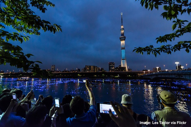 Smartphone tourists in Tokyo Japan