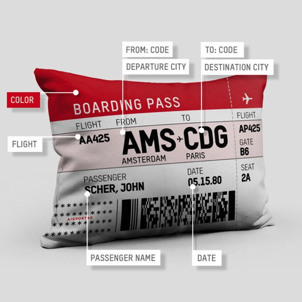 Boarding pass custom pillow details Christmas Gifts for Men and Women who love travel