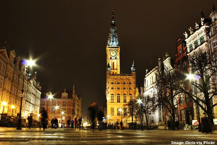 Gdansk Poland at night