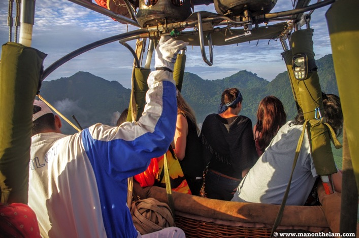 Inside a hot air balloon Vang Vieng Laos