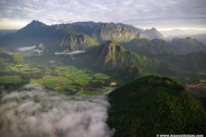 Karst hill ranges in Vang Vieng Laos from hot air balloon