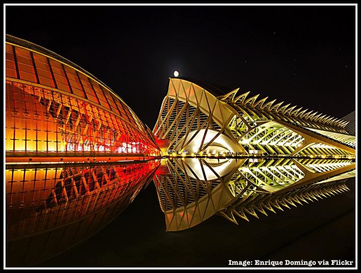 Valencia Spain at night