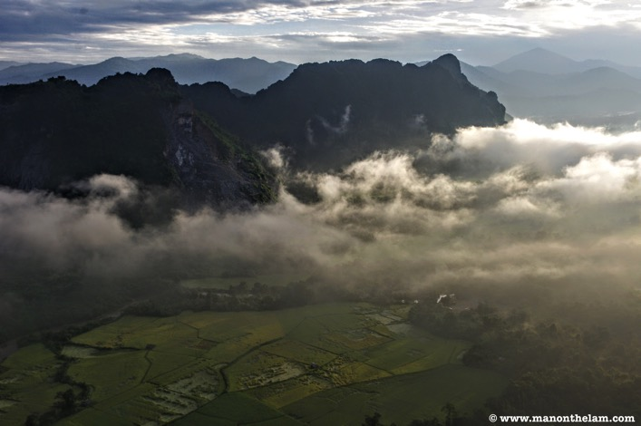 View of karst hill range in Vang Vieng Laos