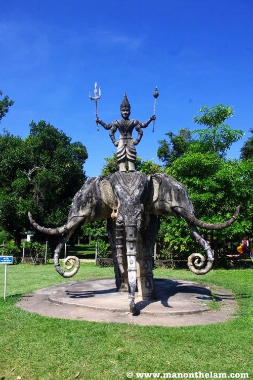 Four headed elephant statue Buddha Park Vientiane Laos