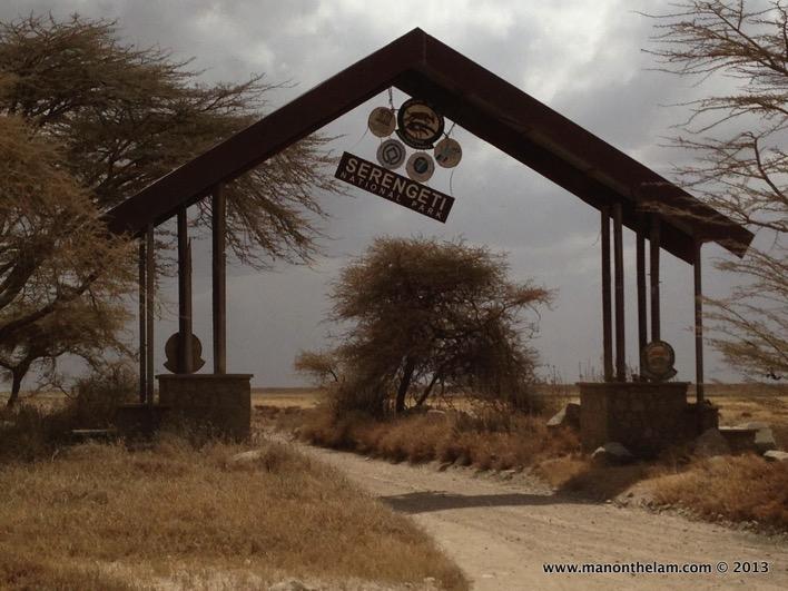 Serengeti National Park entrance sign Tanzania