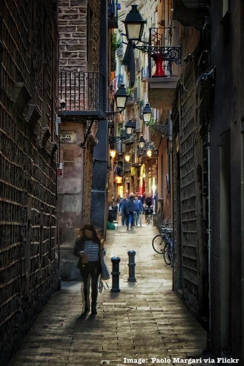 Back alleys of Barrio Gòtico Barcelona Spainjpg