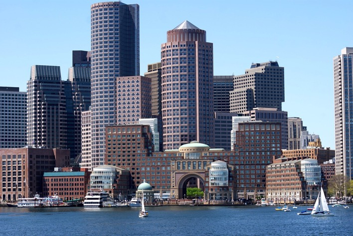 Boston waterfront with sailboats