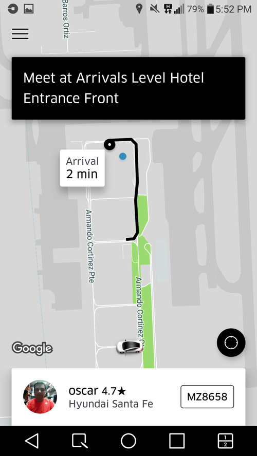 Uber pickup point location Santiago Chile airport