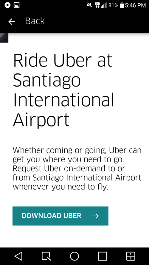 Uber pickup point location Santiago Chile airport5