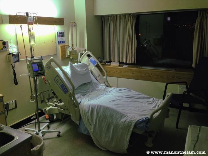 Reclining hospital bed IV drip monitor