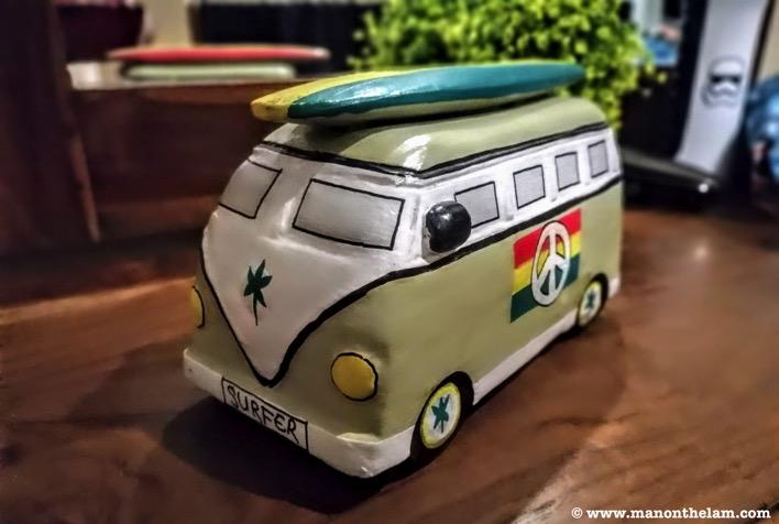 VW Campervan coin bank surfer weed