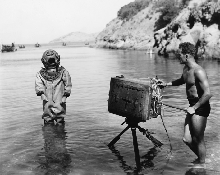 Vintage diver and cameraman shutterstock black and white