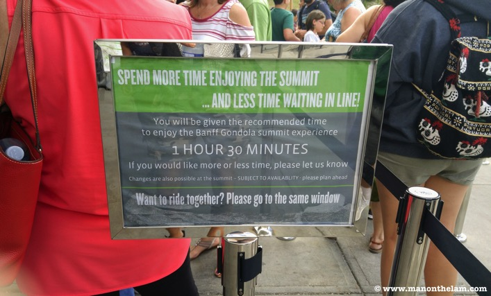 Banff Gondola RIde summit wait time sign