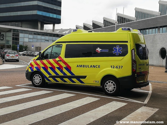 Ambulance in Amsterdam Netherlands airport