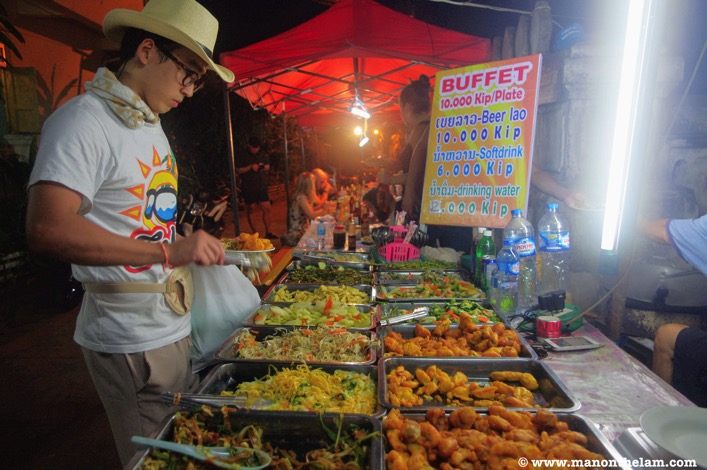 All you can eat buffet 10000 kip luang prabang laos food cheap dinner