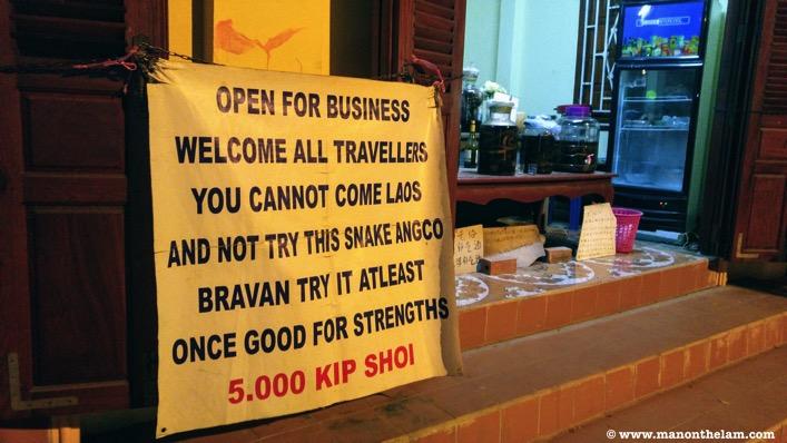 Snake whiskey angco luang prabang laos 5000 kip per shot