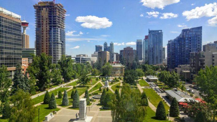 Downtown Calgary Memorial Park view from Sheldon Schumir building