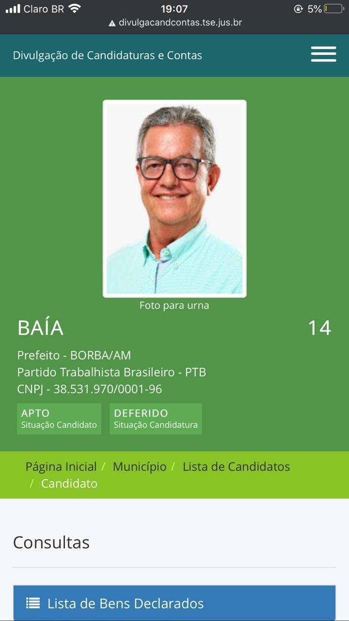 Justiça Eleitoral aprova candidatura de Baía Maia em Borba