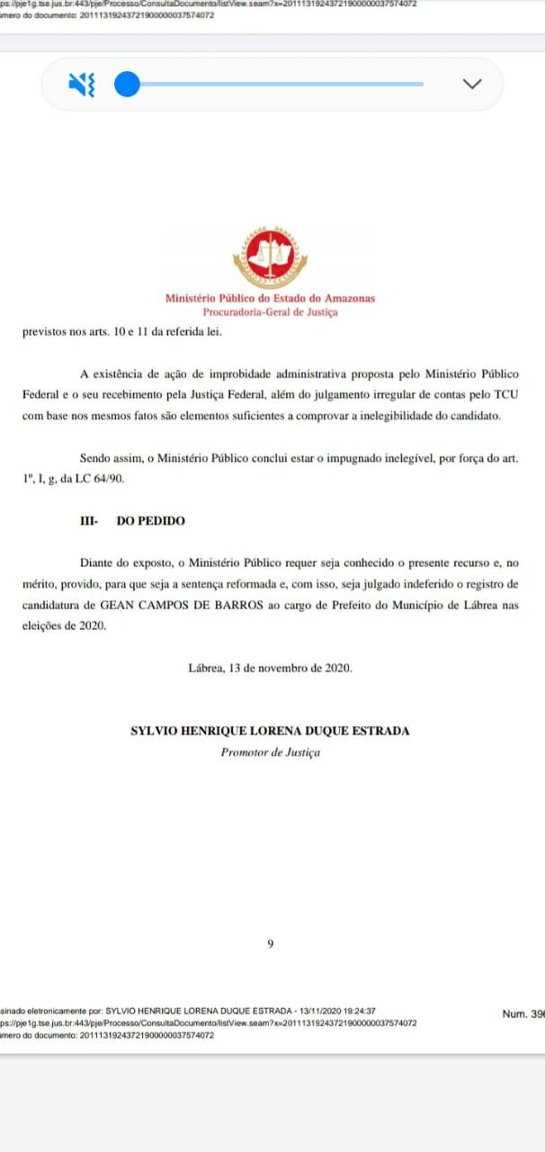 MINISTÉRIO PÚBLICO REAFIRMA QUE GEAN BARROS ESTÁ INELEGÍVEL E QUE NAO PODE PARTICIPAR DAS ELEICOES DESSE ANO