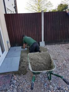 Removal of existing patio crushed concrete has been laid and levels have been made( St Nicholas Road Tillingham)3
