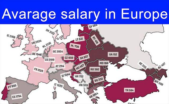Average Salary in European Union  2017