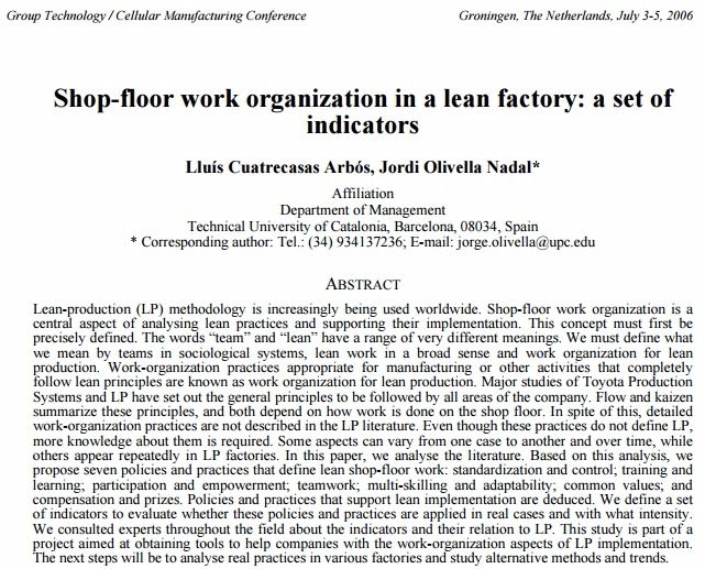 Shop-floor work organization in a lean factory: a set of indicators – PDF Download
