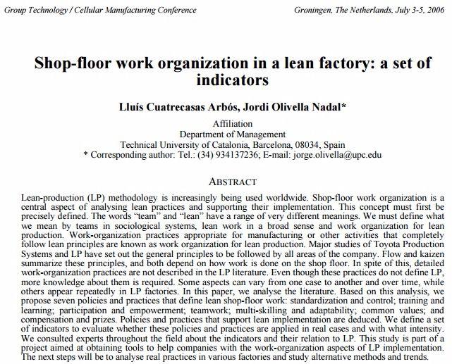Shop-floor work organization in a lean factory: a set of indicators – PDF Download
