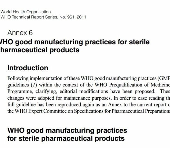 WHO good manufacturing practices for sterile pharmaceutical products – PDF Download