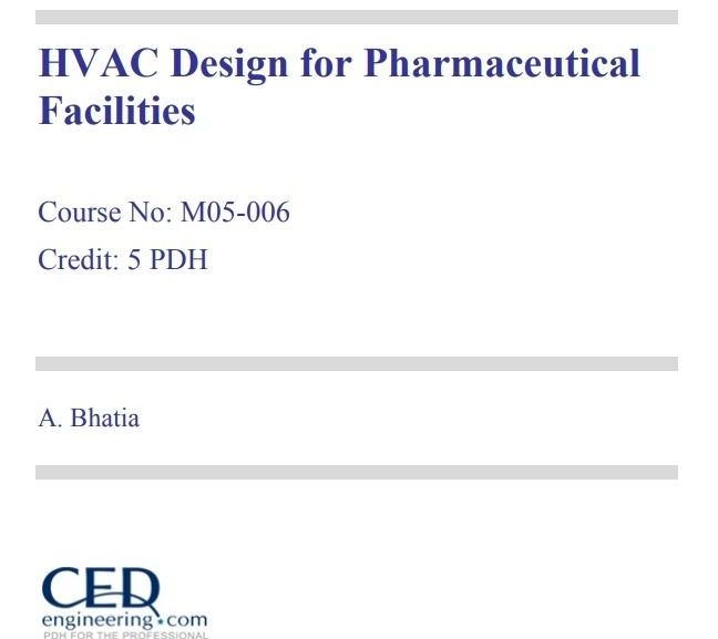 HVAC Design for Pharmaceutical Facilities – PDF download