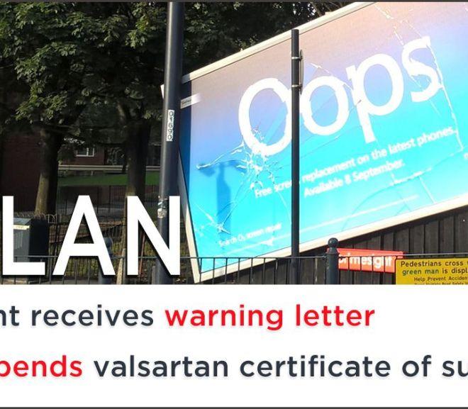 EU suspends Mylan's valsartan certificate of suitability (COS/CEP)