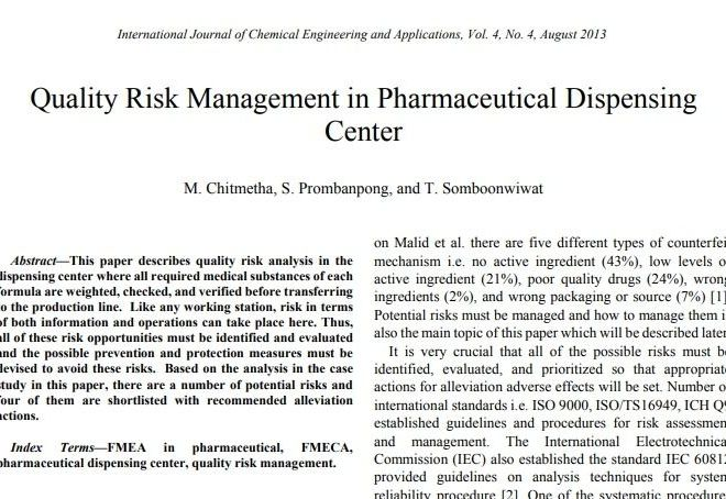 Quality Risk Management in Pharmaceutical Dispensing Center – Free PDF download
