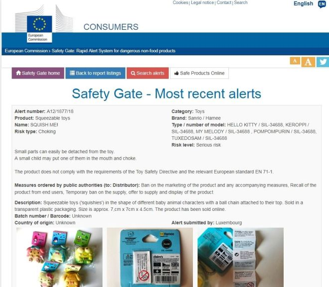 EU Safety Gate – Most recent alerts for dangerous non-food products