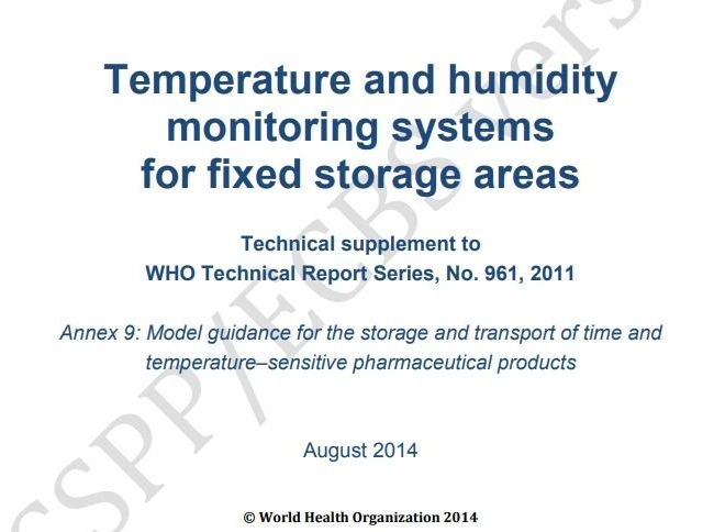 WHO guidelines – Temperature and humidity monitoring systems for fixed storage areas – Free PDF download