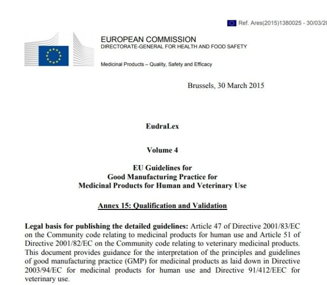 EudraLex –  Qualification and Validation – Free PDF download