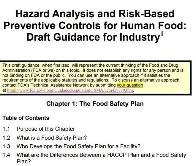 FDA: Hazard Analysis and Risk-Based Preventive Controls for Human Food: Draft Guidance for Industry