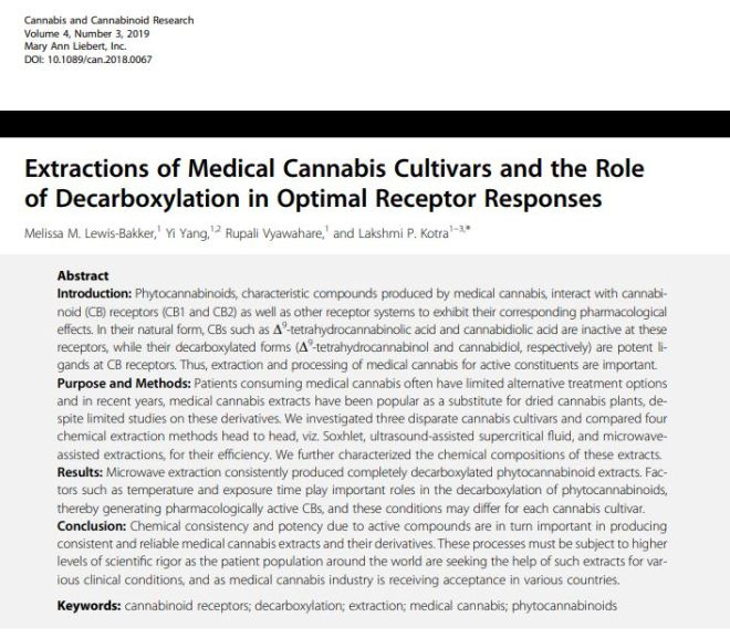 Extractions of Medical Cannabis Cultivars and the Role of Decarboxylation in Optimal Receptor Responses