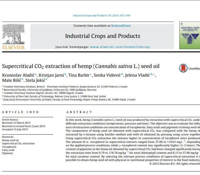 Supercritical CO2 extraction of hemp (Cannabis sativa L.)
