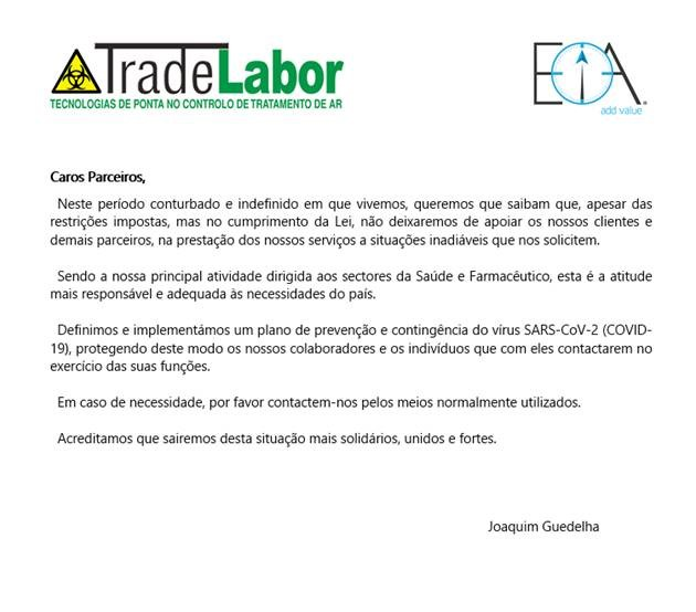 Comunicado COVID 19 – TRADELABOR / EIA