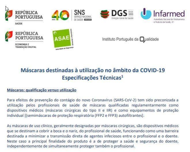 INFARMED: Máscaras destinadas à utilização no âmbito da COVID-19 Especificações Técnicas