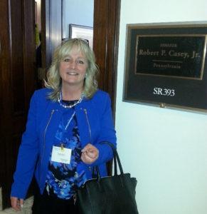 Michele Whitecraft outside Senator Robert Casey's office on Capitol Hill.