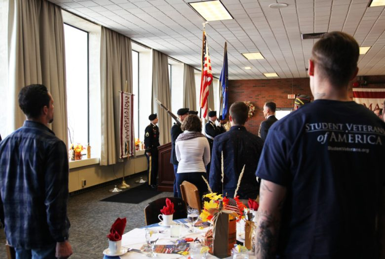 An ROTC Color Guard, commanded by Staff Sergeant Jason Welch, Pennsylvania National Guard and purchasing agent at MU, presented the colors at the luncheon.