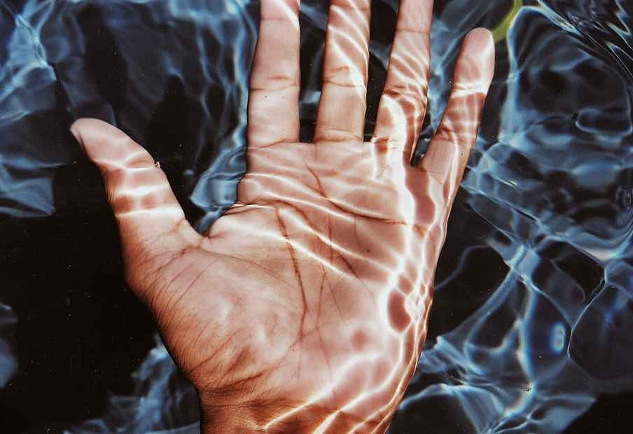 photo of person s hand submerged in water