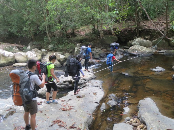 Day 1, stream-crossing in slippers