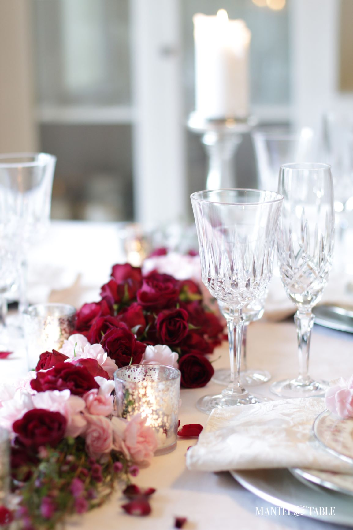 Valentines Tablescape Double Date ~ Four place settings on a table with floral centerpiece.