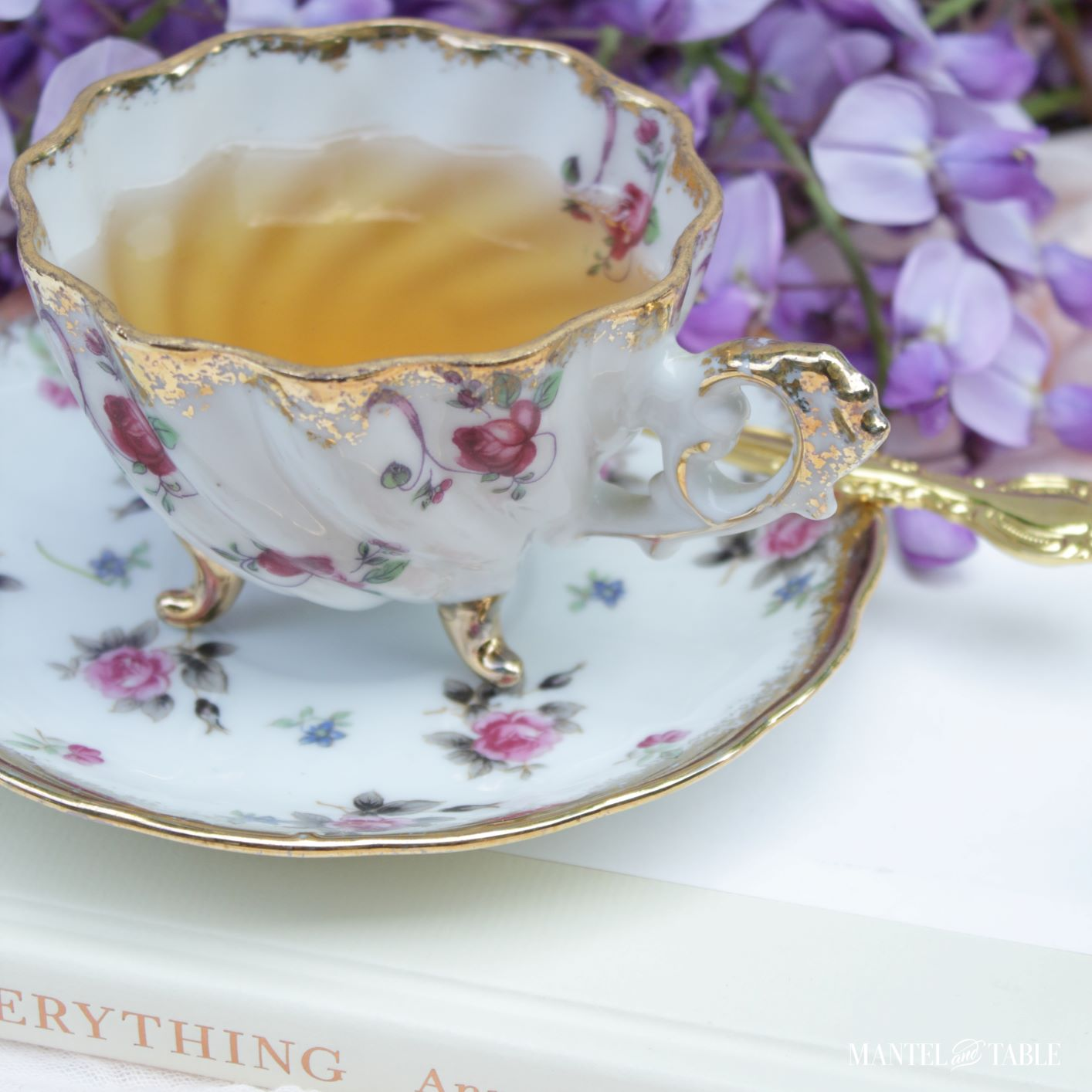 7 Teacup gift ideas ~ Cup with tea viewed from above.