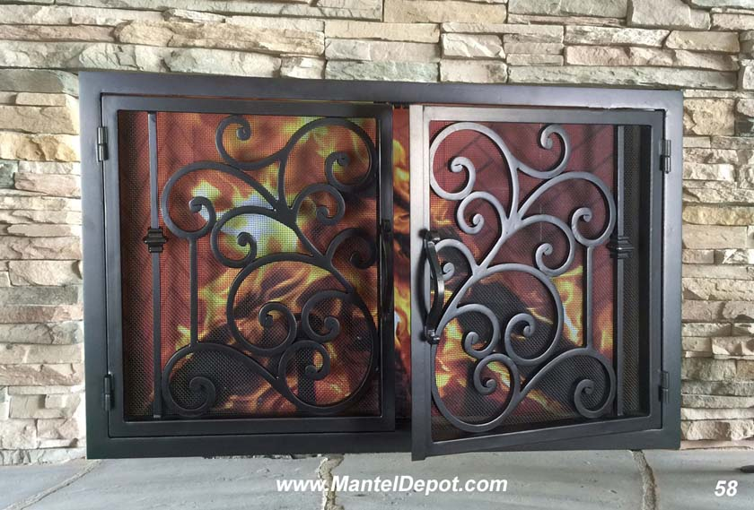 Hand Forged Iron Fireplace Doors Fd058 From Mantel Depot